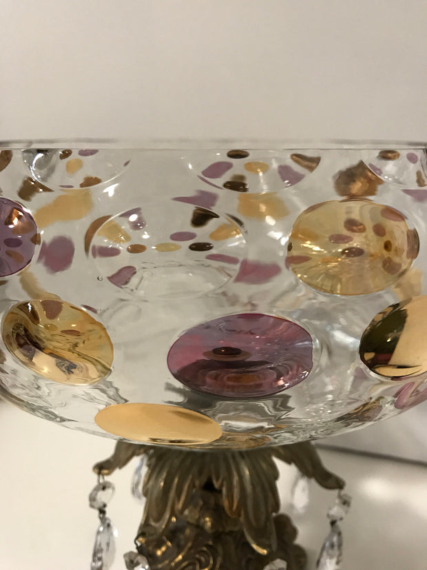 Vintage Brass & Glass Pedestal Bowl Italian Large Polka Dots Crystal Centerpiece Thumbprint Genuine Marble Base