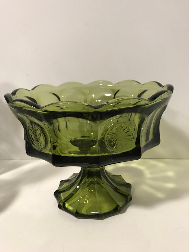 Olive Green  Fostoria Vintage coin Compote/Bowl