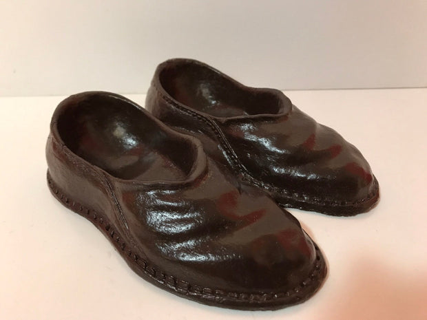 "Syroco Wood Figural Pair of Mens Shoes/Slippers Hand painted Brown 1940s  5 1/4"" x 4 1/2"" Collectible"