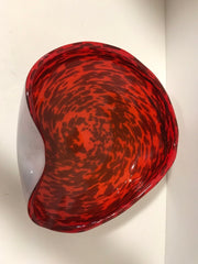 Murano Italian Venitian 1950s Folded Edge Bowl Alfredo Barbini Art Glass