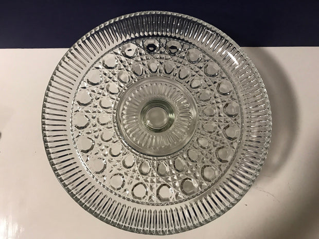 Vintage Federal Glass Cake Stand Windsor Pattern Ribbed Edgeing 1950s  Clear Glass