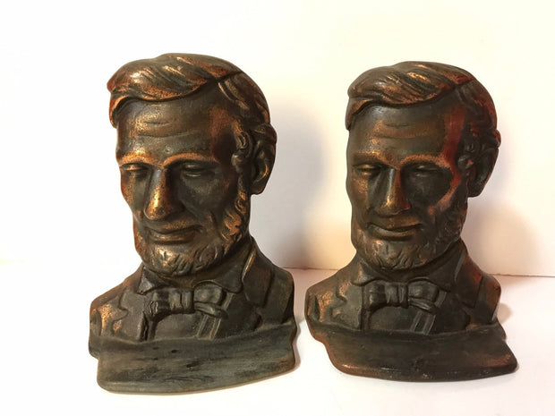 Vintage Brass/Copper Abe Lincoln Bookends  1950s-60s Small 5 7/8 tall x 4 1/2 x 2 1/4