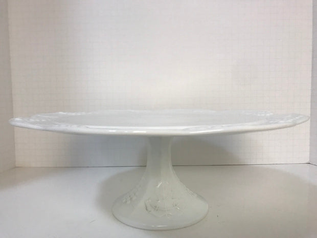 Vintage White Milk Glass Cake Stand Original 1950s Cottage Chic Wedding Home Decor  Indiana Glass Co Colony Harvest