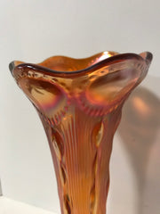 Marigold Carnival Glass Vase by Imperial Glass Bullseye Swung or Tree Trunk Style Antique 1909-1930