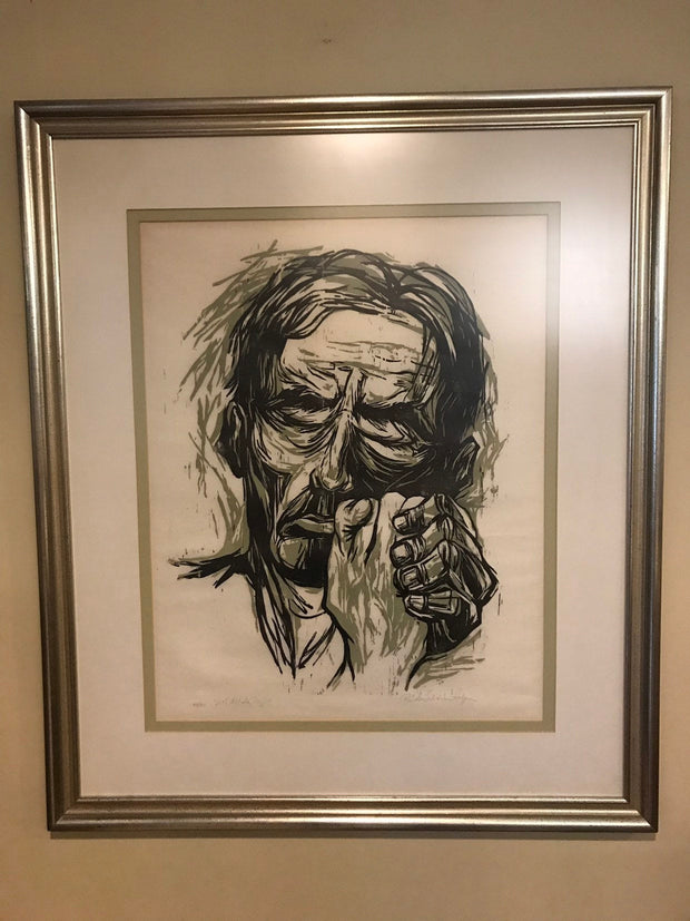 "Art Lithograph  Black & White Signed 34/40 ""With All My Might"" Large 34""x 29"" ON SALE"