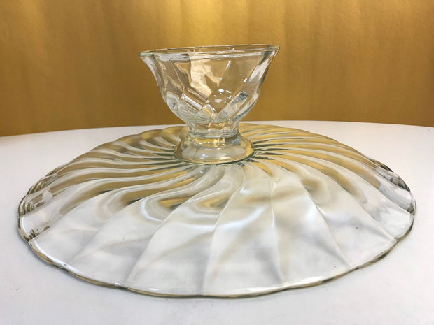 Vintage Clear Glass Swirl Extra Large Cake Stand