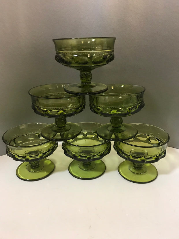 Green Indiana Glass Co. Kings Crown Dessert Goblet 6 pc Set