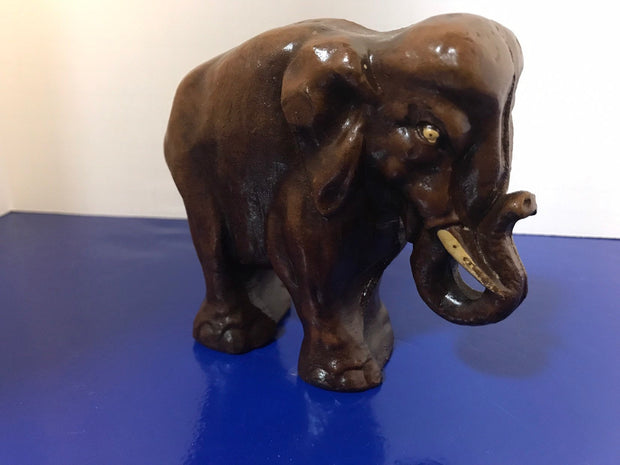 Syroco Wood Elephant Figure with White Tusks and Curled Trunk from the 1940s