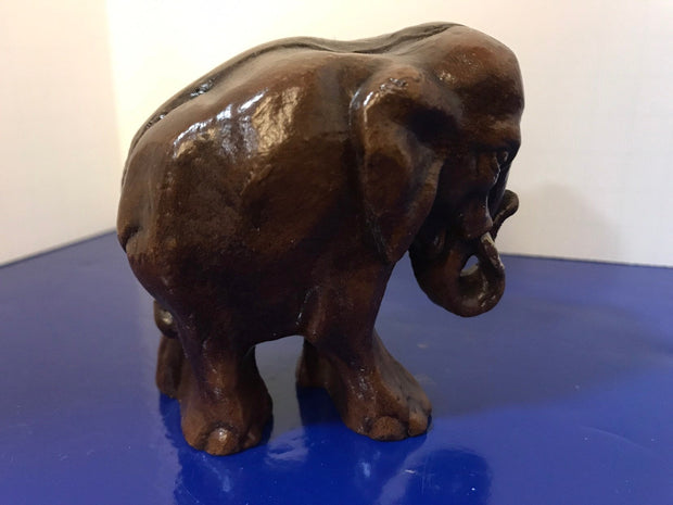 "Syroco Wood Elephant Small 3"" Figure with White Tusks and Curled Trunk  from the 1940s"