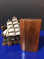 Vintage 1940s Syroco Sailing Ship Collectible Coat Brush and Holder