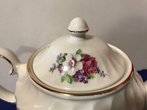 Fine China WINDSOR Floral Teapot Made in England Vintage