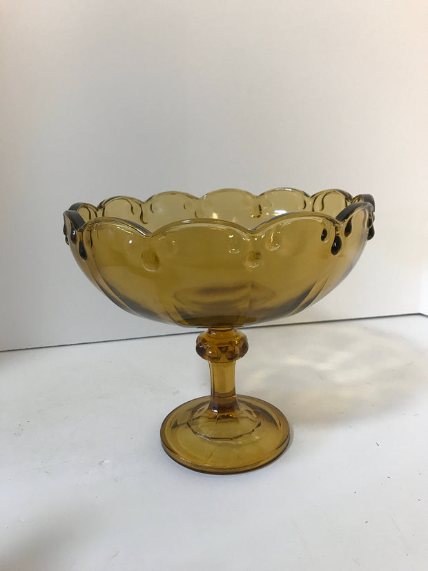 Amber Glass Compote/ Fruit Bowl Centerpiece by Indiana Glass co w/Garland Teardrop motif