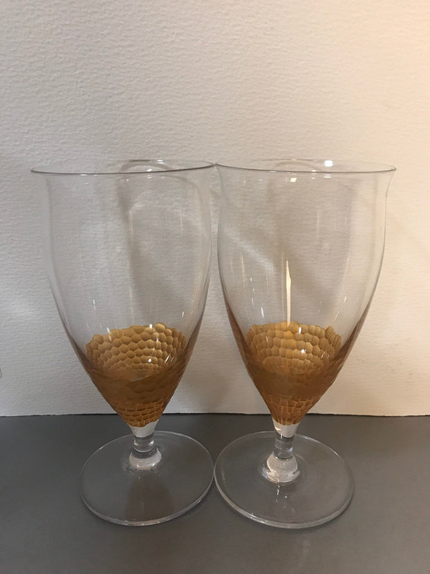 Precious Metals Gold Glasses Ice Tea by Lenox Stemware 2 Glass Set
