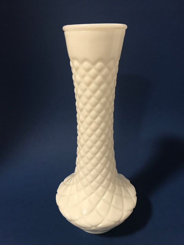 Hoosier Vintage Milk Glass Bud Vase Cottage Chic Diamond Quilt