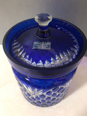 Godinger Cobalt Blue Cut to Clear Legends Handcrafted Lidded Canister 6""