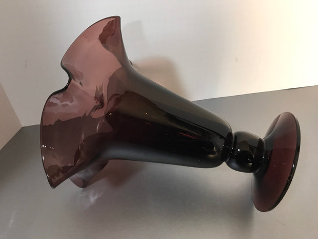 Vintage Amethyst Purple Vase Large Ruffle Art Glass Hand Blown