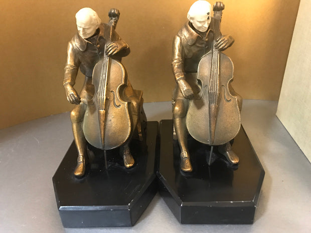 JB Hirsch  Ivorine Cellist Bookends 1932 J.Ruhl Bronzed Metal