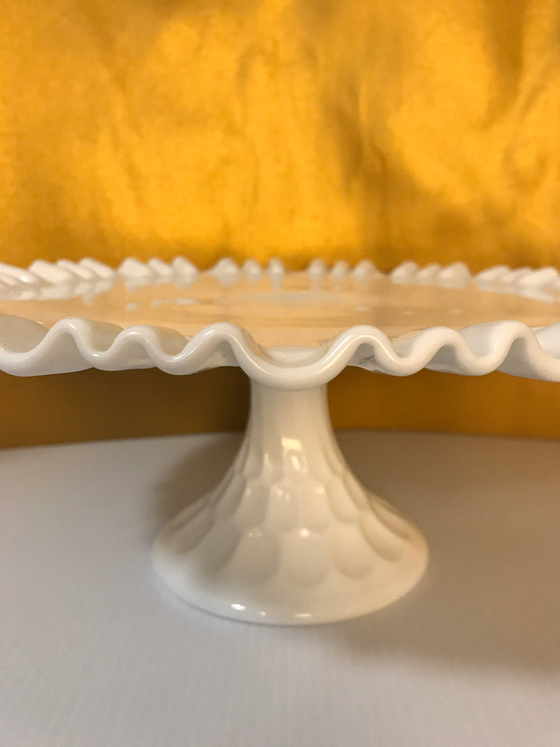 Fenton Vintage Pedestal Cake Stand/Plate 1950s Thumbprint Special occasion Wedding Home Decor Item#10310