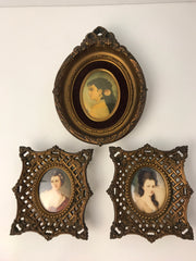 Ornate Framed Lady Portrait Victorian French design by Cameo Creations SET OF 3