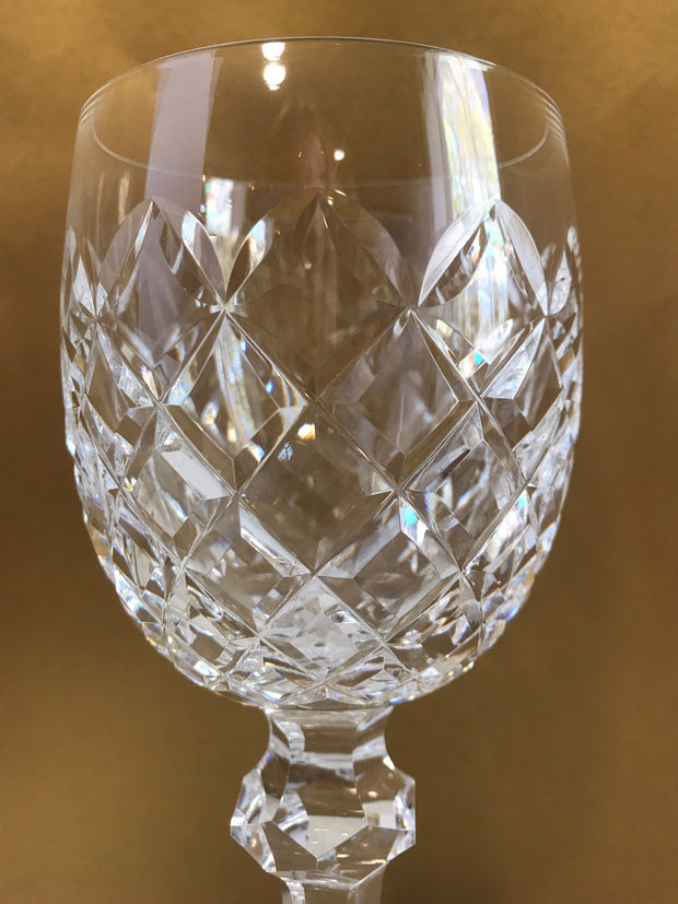 Crystal Wine Goblet by Waterford  Made in Ireland Hand Blown Glass Powerscourt Pattern Luxury Stemware
