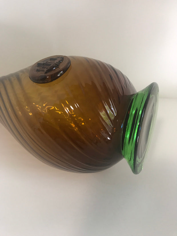 Vintage Amber Brown Swirl Bottle Green Base applied glass Image of Castle