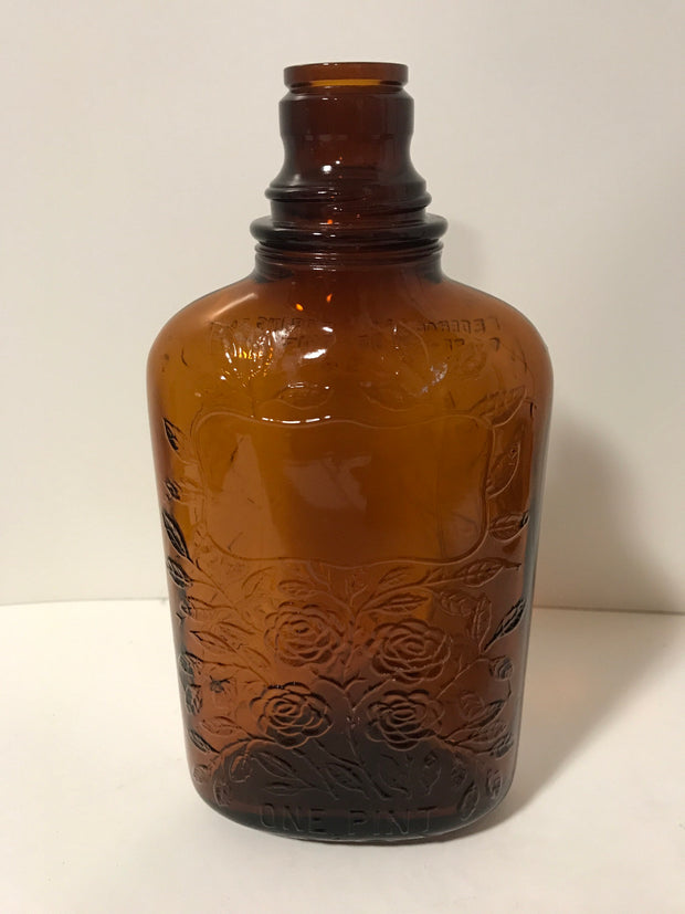 "Vintage Flask Style Brown Glass Whiskey Bottle 1 pint Embossed ""Four Roses""1930s"