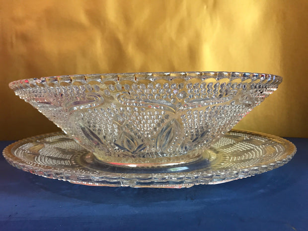 Vintage Decorative Clear Hobnail Bowl and Platter 2 pc Set Fancy Mid Century Design