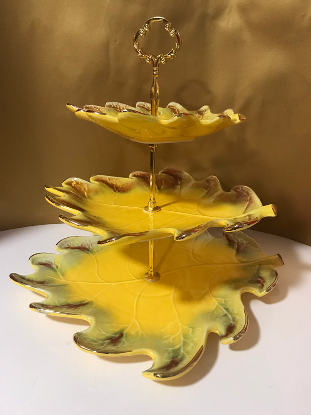 Vintage 3 Tier California Pottery Leaf Stand Cookies Cake Muffins Pastries Cupcakes Party Serving Essentials
