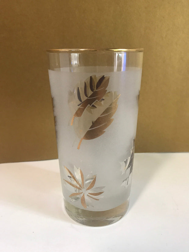 Vintage 1960s Cocktail Glasses in Gold  7 Frosted Glasses by Libby with Gold Leaves Bar Decor EACH SOLD SEPARATELY