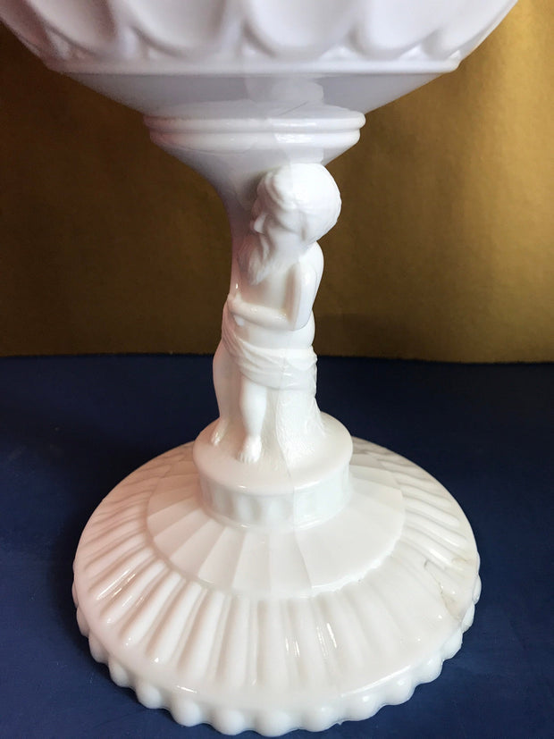 Vintage White Milk glass Man holding bowl Pedestal Midcentury Centerpiece Fruit Bowl