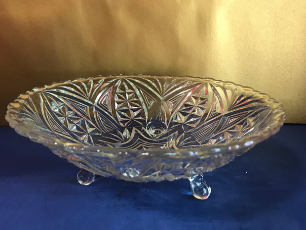 Midcentury Footed Clear Bowl Pressed Glass Design