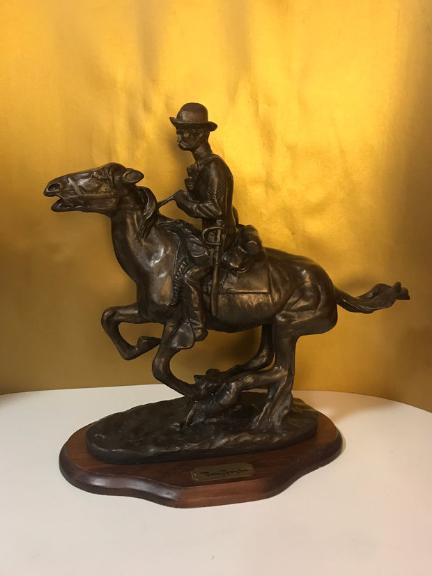 "Vintage ""Trooper of the Plains"" Frederic Remington Chesapeake Reproductions Inc Large Sculpture on Wood Platform"