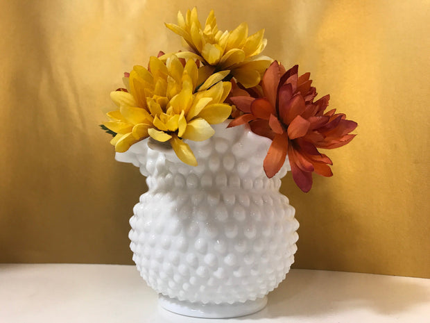 White Milk Glass by Fenton Vintage Hobnail Bowl/Vase Ruffled Edge Centerpiece Cottage Chic Centerpiece