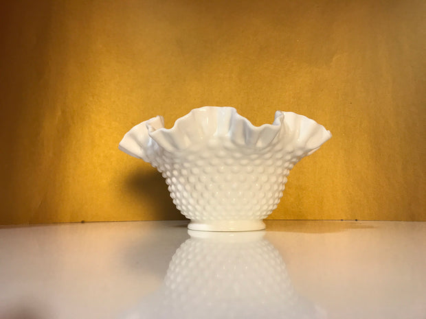 Fenton Large White Double Ruffle Hobnail Bowl 50s 60s  Milk Glass Cottage Chic  Decor Wedding