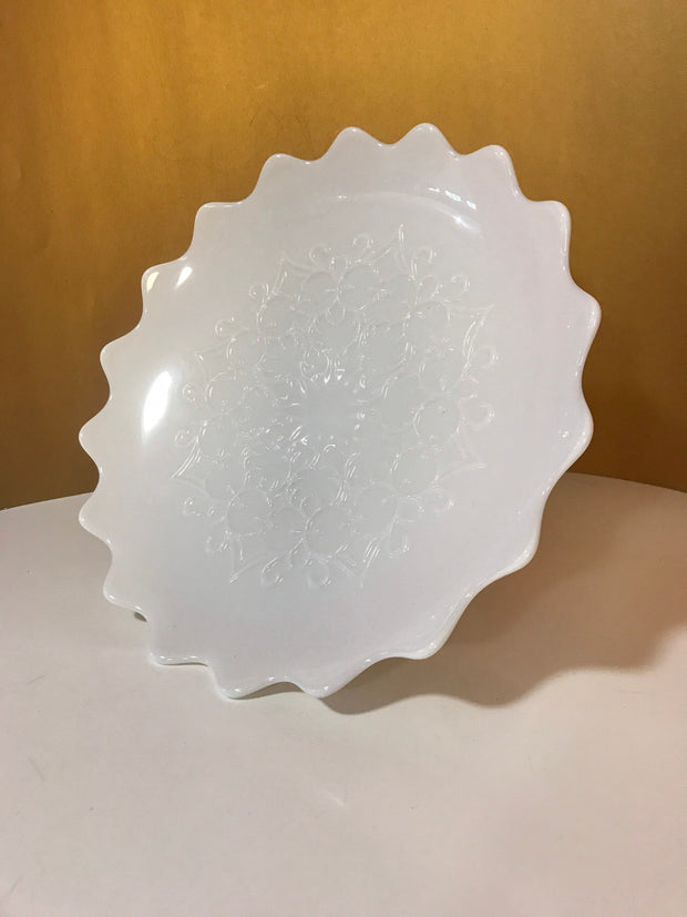 "Fenton Cake/ Fruit Stand Spanish Lace Turned Up Edge Pedestal Large 13 1/4"" White Milk Glass 1950s Item #FN30120"