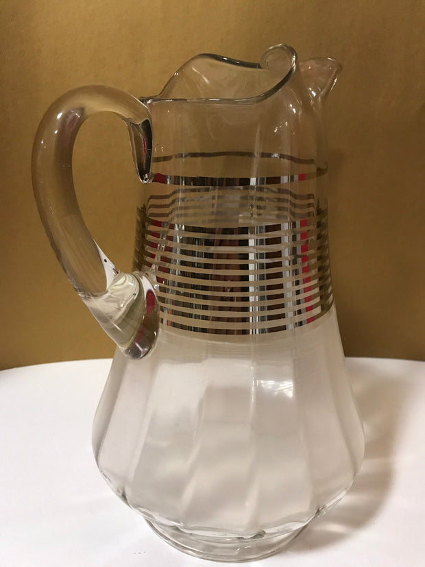 Vintage Glass Pitcher Clear With Frosted Bottom Half Silver Striped Center Pattern