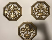 Syroco Mid Century Modern Floral 1960s Wall hangings 3 pc Set Octagon Hand Painted Gold