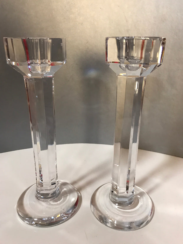 "Vintage Tall 8 5/8"" Kosta Boda Paneled Pillar Crystal Pair Candlesticks"