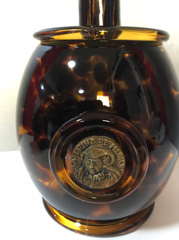 Italian Jug/ Barrel Bottle Handblown Spotted Amber Glass Brass Medallion Caterina DeMedici