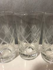 Vintage 4 pc Set Drinking Glasses Mid Century 1970s Etched Diamond Pattern Clear