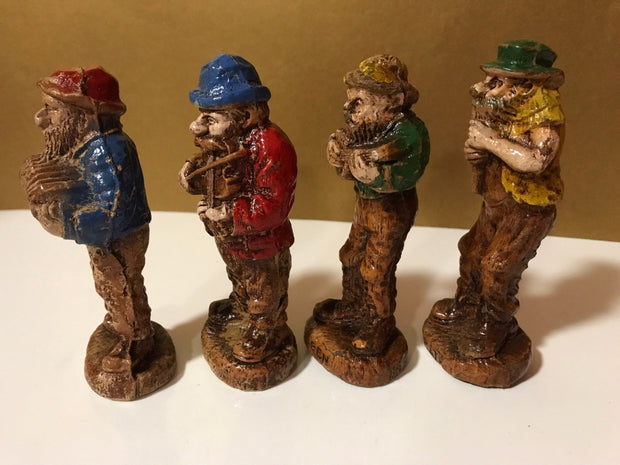 Syroco  Wood 1940s Beat Up Hillbilly Band Figurines 4 pc Set Collectable