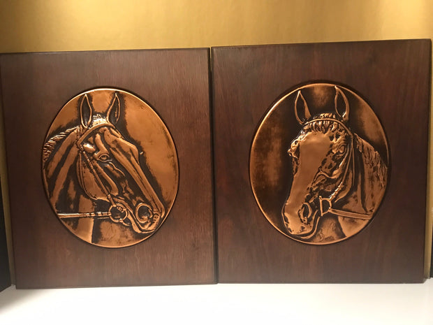 Bruce Fox Signed Copper Relief on Wood Horse Head Plaques Western Ranch Art Vintage 1940s Equestrian Art