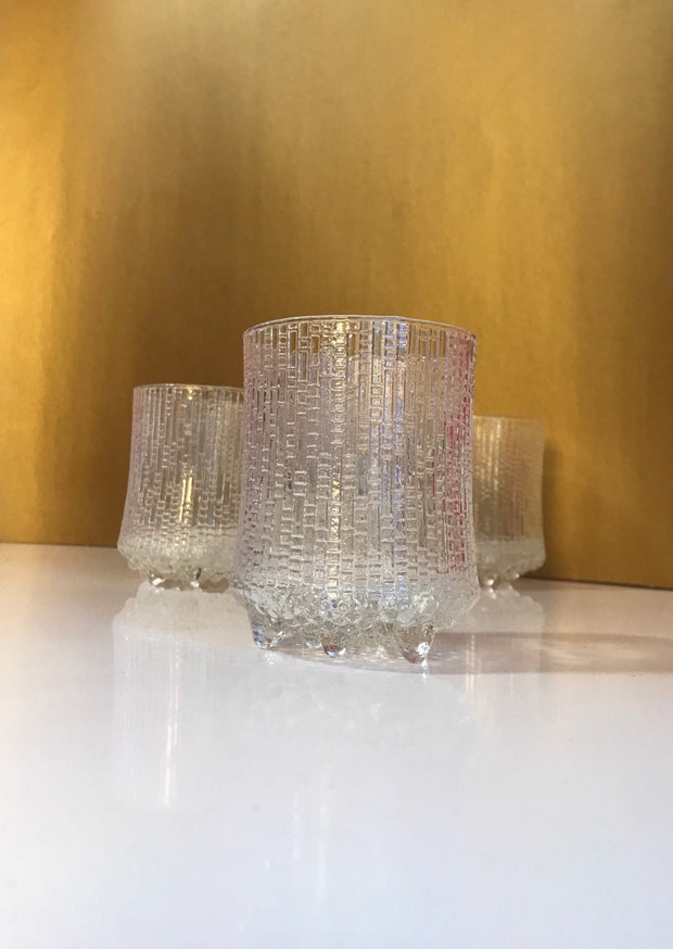 Vintage Iittala Finland Ultima Thule Drinking Glasses Mid-Century Modern Barware Scandinavian Ice Glass 4pc Set Cocktail Glasses