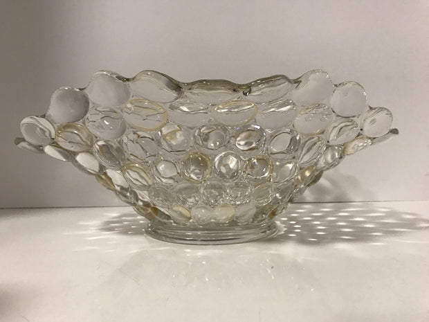 Vintage 1940s Large Bubble Clear Glass W/ Gold/Yellow Iridescence