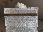 Brilliant Crystal Large Hinged Jewel Box Vintage