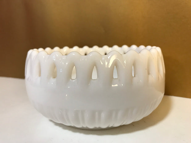 "Vintage WestMoreland White Rose Bowl Ribbed Doric Lace Cutout with Pierced Edges signed also Original Sticker Small 5""x 2 1/2"""