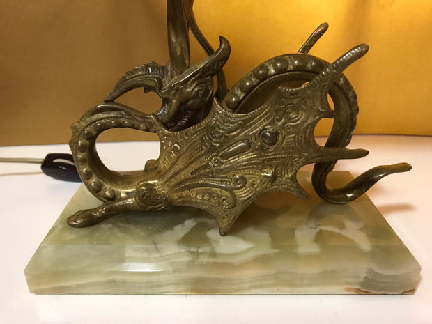 Midcentury Onyx & Brass Dragon Accent Lamp