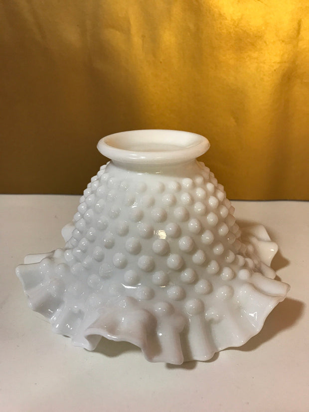"Fenton White Milk Glass Hobnail Double Ruffle Edge Small Bowl 6""x 3 3/4"""