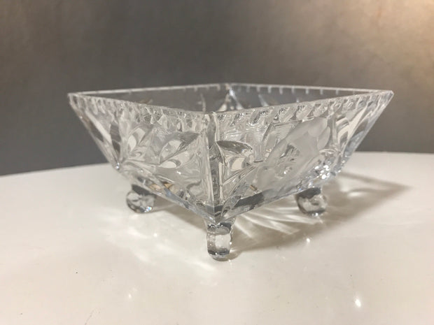 "Small 4 Footed Crystal Square Bowl 4""x4""x 2 1/4"" Fancy Trinket Multi Use Dish"