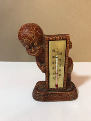 Vintage 1949 Multi Prod Inc Thermometer Americana Wood Figurine Small boy with diaper